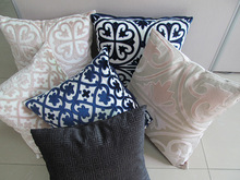 2014 new design velvet & cotton/ linen material hotel decorative cushion cover handmade fireproof embroidery pillow