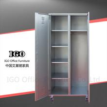 metal 2 door bedroom cupboards design with wheel