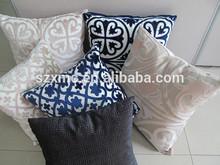 2014 new design velvet & cotton/ linen material hotel decorative cushion cover handmade fireproof hotel emboidery pillow