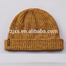 Small MOQ Yellow Cuff Beanie Cheap Knitted Cap with logo