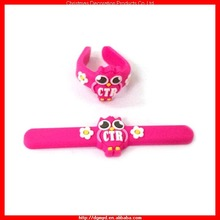Deep pink animal 3D soft PVC finger ring for girls (MYD-0930)
