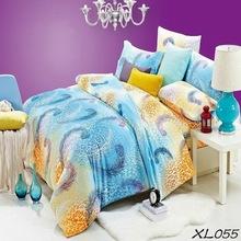 Luxury reactive printed yellow purple polyester fabric baby comforter