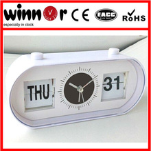 Plastic table alarm date and day flip clock calendar clock