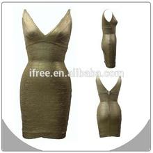 Wholesale gold foil print women formal dress short prom dresses