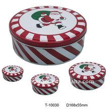Round Christmas Tin Box T-10030