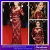 Sheath Long Sleeve Sheer Top Open Back Lace Crystal Beaded Custom Made Long Sleeve Celebrity Red Carpet Dress (CTD005)
