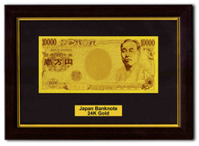 24kt Gold Leaf Arts And Crafts Japan 10000 Yen 99.9 24k Gold Banknote For Collection With Black Wooden Frame