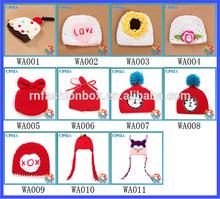 2014 Whosale China handmade crochet cartoon baby hat crochet pattern crochet knitted hats animal