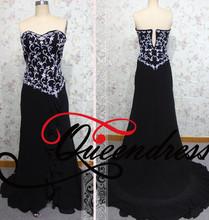 Sweetheart Neckline Backless White Embroidery Floor Train Best Long Black Evening Dress