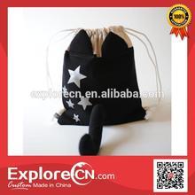 2014 cat shape Cute drawstring backpack bag for girls