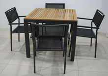 Outdoor Teak Wood Table and Mesh Dining Chair SV-2109