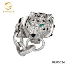 Wholesale Silver Pave Setting Chain Ring Animal Head Design Jewelry