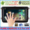 Android 4.2 OS car dvd gps for Volkswagen cars with 3g wifi pure Android 4.2 system for GOLF 6 nLF 6 new polo New Bora JETTA MK