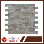 Honey Polished Bricks Pattern Mesh-Mounted Onyx Tiles
