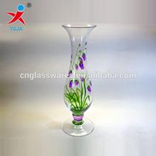 wholesale borosilicate glass flower vase with printing logo