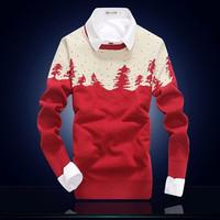 HFR-R-238 2014 New design jacquard pattern Christmas sweater for men