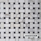 Basket weave White and Black Bathroom Floor and Wall Marble Mosaic Tile