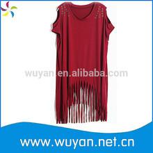 Bordo- kırmızı/hip hop/dans giyim/kadın giyim/pamuk t- shirt