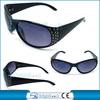 2014 Fashion big black frame plastic sunglasses with Fake rhinestone decorate(BSP1062)