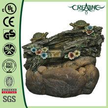 "20.5"" Double Turtle on Log Rock Fiberglass Landscape Garden Fountain"
