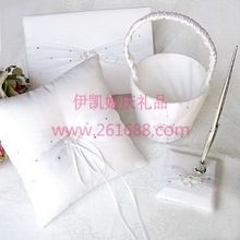 Deluxe two Hearts Guestbook pen set Ring Pillow Flower Basket In stocks