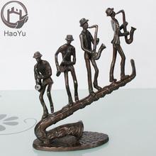 cast iron metal bronze saxophone sculpture for home decor