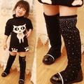 Ts3012 hefei zhijing 2014 novo diamante meninas botas crianças sapatos princesa moda botas de cano alto