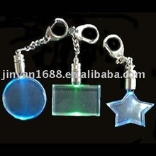 LED flashing acrylic keychain transpartent color keyring