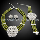 dubai spring green beads jewelry and silver plated flowers jewelry set
