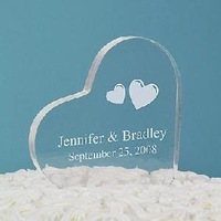 Hot Selling Heart Shape Clear Acrylic Wedding Cake Topper with Heart Cover