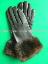 fashion sex lady long leather opera gloves with fur cheap winter gloves