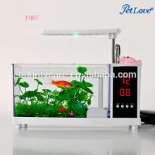 Mini Desktop Fish Tank USB Aquarium with Pen Case & LED Table/Desk Lamp