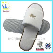 white embroidered soft velvet sponge hotel slippers