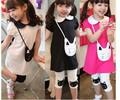 Toptan yeni 2.014 yaz kısa kollu güzel kedi bebek kız elbise kız bluz uzun üstleri + tozluk pembe siyah beyaz