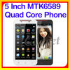 Factory Price! 5 Inch Android 4.2 MTK6589 Quad Core cheap mobile phone with skype
