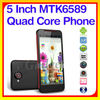 Android 4.2 MTK6589 5 Inch RAM 1G/4G cheap mobile phone memory card