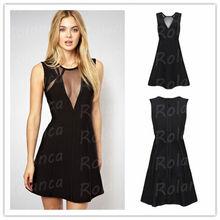 CXIS501 See through 2014 black beautiful mature women bandage dress