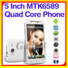 Original 5inch Android 4.2 MTK6589 RAM 1G/8G cheap android phone dual sim card