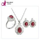 Ladies AAA cz stone ruby jewelry set costume