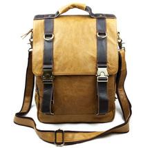2014 brown leather man leisure classical multifunctional vintage bag