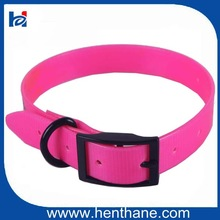 Waterproof Fresh Pink color Dog Collar with Black Zinc Alloy Buckle