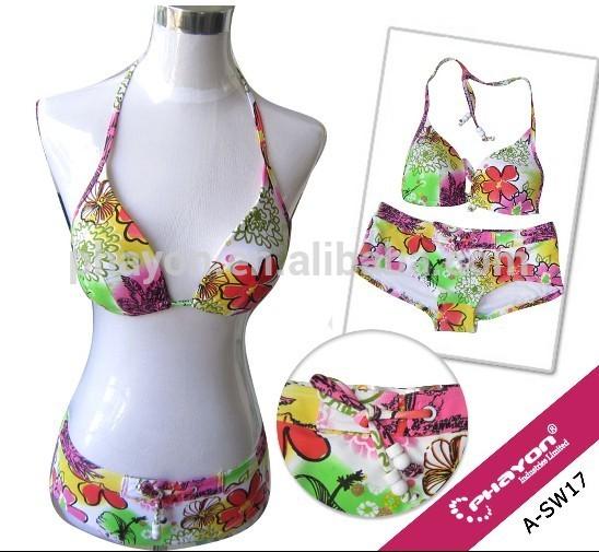 OEM open sexy girls swimming wear images, full print bikini bathing suit