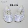 Dyeable satin elastic children wedding shoes with beads acrylic