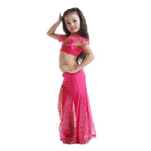 2pcs Milk Silk Belly dance Dress latin teen girl dress costumes