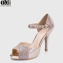 China cheep price fish mouth high stiletto heel sandals/sexy stylish champagne rhinestone wedding high heel sandals