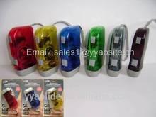 LED Hand Press Flashlight / hand crank flash light / dynamo flashlight