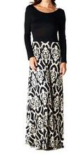 seasons change long sleeve maxi damask print evening long dress for women