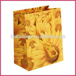 fancy design flower yellow gift bags