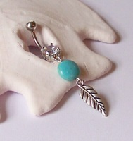 BJ00721 turquoise stone leaf charm vintage gemstone body jewelry piercing belly ring