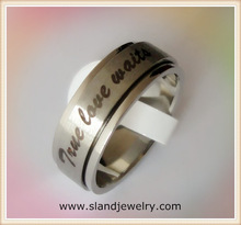 China stainless steel jewelry factory cheap wholesale men spinner stainless steel true love waits ring